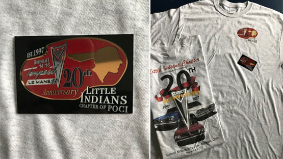 T-shirt and dash plaque